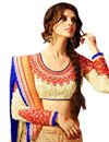 photo of Cream Color Wedding Wear Net Fabric Lehenga Choli with Embroidery