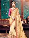 image of Designer Silk-Georgette Fabric Saree In Cream-Gold Color With Banglori Silk Blouse