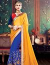image of Orange-Blue Color Party Wear Designer Saree In Jacquard-Georgette Fabric