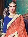 photo of Jacquard-Georgette Fabric Designer Saree With Embroidery In Orange-Blue Color
