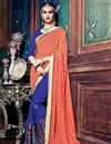 image of Jacquard-Georgette Fabric Designer Saree With Embroidery In Orange-Blue Color