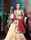 image of Designer Cream-Red Color Saree In Lycra-Georgette Fabric With Brocket Blouse
