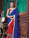 image of Party Wear Designer Jacquard-Georgette Saree In Red-Blue Color