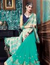 image of Cyan-Cream Color Party Wear Saree In Jacquard-Georgette Fabric