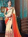 image of Designer Crepe-Georgette Fabric Saree In Cream-Orange Color With Banglori Silk Blouse