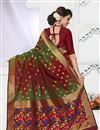 photo of South Indian Style Designer Banarasi Silk Saree In Red And Green Color