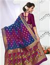 photo of Festive Wear Designer Blue And Pink Color Banarasi Silk South Indian Style Saree