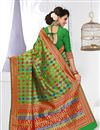 photo of Party Wear Green Color Designer Saree With Banarasi Silk Unstitched Blouse
