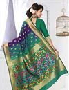 photo of Designer Banarasi Silk Party Wear South Indian Style Saree In Green And Purple Color