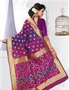 photo of Pink And Purple Color Banarasi Silk South Indian Style Designer Saree