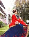 photo of Riveting Red And Blue Color Designer Jacquard And Georgette Party Wear Saree With Embroidery Work