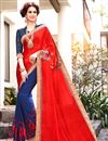 image of Riveting Red And Blue Color Designer Jacquard And Georgette Party Wear Saree With Embroidery Work