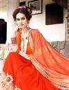 photo of Riveting Orange Color Designer Georgette And Net Party Wear Saree With Embroidery Work