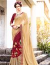 image of Party Wear Engaging Beige And Maroon Color Crepe And Georgette Designer Embroidered Saree