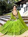 image of Dazzling Green Color Designer Lycra And Georgette Party Wear Saree With Matching Blouse