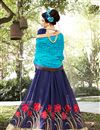 photo of Gorgeously Embroidered Designer Chiffon And Georgette Party Wear Saree In Blue Color