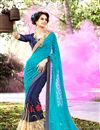 image of Dazzling Blue Color Designer Chiffon And Georgette Party Wear Saree With Matching Blouse