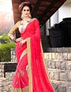 image of Exhilarating Pink Color Embroidered Chiffon And Georgette Designer Saree