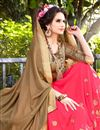 photo of Alluring Designer Georgette And Lycra Party Wear Saree In Beige And Pink Color