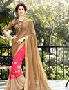 image of Alluring Designer Georgette And Lycra Party Wear Saree In Beige And Pink Color