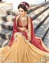 photo of Party Wear Engaging Maroon And Beige Color Jacquard And Georgette Designer Embroidered Saree