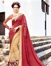 image of Party Wear Engaging Maroon And Beige Color Jacquard And Georgette Designer Embroidered Saree