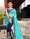 image of Dazzling Blue Color Designer Net And Georgette Party Wear Saree With Matching Blouse