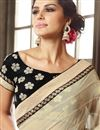 photo of Gorgeously Embroidered Designer Saree In Cream Color Brasso And Chiffon Fabric With Beautiful Blouse
