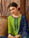 photo of Designer Cotton Festive Wear Embroidered Patiala Suit In Green