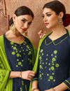 photo of Navy Blue Designer Cotton Festive Wear Patiala Dress With Embroidery