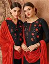 photo of Cotton Embroidered Designer Festive Wear Black Patiala Suit