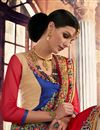 photo of Red And Beige Color Embroidered Designer Saree In Georgette Fabric