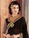 photo of Black And Grey Color Designer Georgette And Net Fabric Saree With Banglori Silk And Net Fabric Blouse
