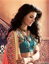 photo of Orange And Teal Color Embroidered Designer Saree In Georgette Fabric