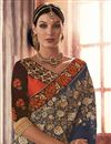 photo of Grey And Orange Color Designer Chiffon And Net Fabric Saree With Velvet And Dhupion Fabric Blouse
