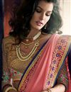 photo of Pink And Blue Color Embroidered Designer Saree In Lycra And Georgette Fabric