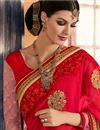 photo of Red And Pink Color Embroidered Designer Saree In Georgette Fabric