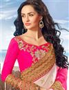 photo of Fancy Function Wear Pink And Off White Color Chiffon Designer Saree With Lace Border