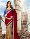 image of Fancy Function Wear Red And Beige Color Net And Velvet Designer Saree With Lace Border