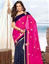 image of Designer Fancy Rani And Blue Color Chiffon Embroidered Saree With Lace Border