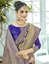 photo of Designer Function Wear Art Silk Fancy Blue Weaving Work Saree