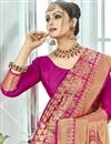 photo of Pink Function Wear Traditional Fancy Weaving Work Saree In Art Silk