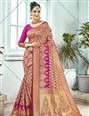 image of Pink Function Wear Traditional Fancy Weaving Work Saree In Art Silk
