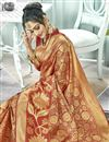 photo of Puja Wear Maroon Fancy Art Silk Traditional Saree With Weaving Work