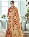 image of Puja Wear Maroon Fancy Art Silk Traditional Saree With Weaving Work