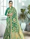 image of Traditional Function Wear Green Weaving Work Fancy Saree