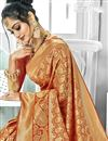 photo of Designer Function Wear Rust Color Fancy Art Silk Weaving Work Saree