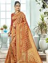 image of Designer Function Wear Rust Color Fancy Art Silk Weaving Work Saree