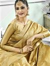 photo of Function Wear Fancy Weaving Work Art Silk Beige Traditional Saree