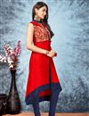 picture of Straight Cut Designer Red Color Fancy Silk Fabric Embroidered Kurti